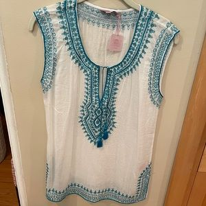 Calypso St Barth Tunic White Sleeveless Turq Blue
